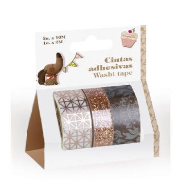 3 cintas adhesivas washi tape marrón