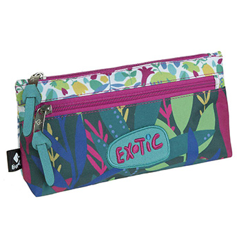 estuche escolar doble exotic