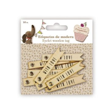 scrapbooking etiquetes etiquetes fusta - with love