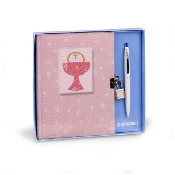 first communion diary with lock plus pen
