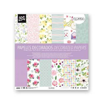 flowers scrapbook decorated paper 30,5x30,5 scrap coquette