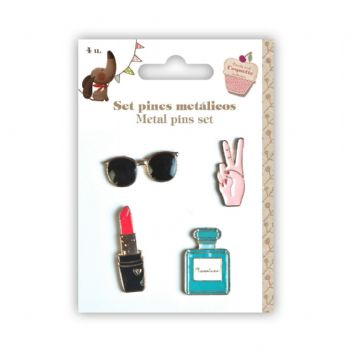 metallic pins set cool scrap coquette