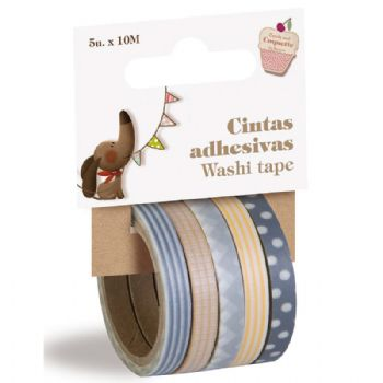 Pack of 5 thin washi tapes