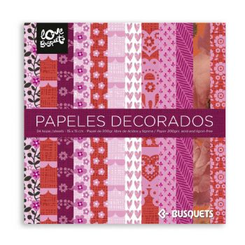papeles decorados 15x15 scrap coquette