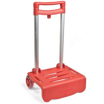 Red cart for backpacks