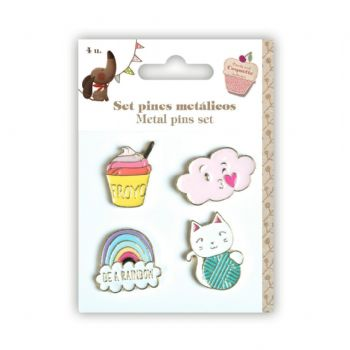 set pins metàl·lics rainbow scrap coquette