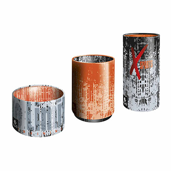 three metal cans